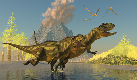 Yangchuanosaurus Dinosaurs - Two Yangchuanosaurus dinosaurs splash across a stream as a volcano erupts with smoke and ash