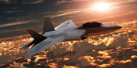 jet fighter: F22 Fighter Jet at Sunset - An F-22 fighter jet flies at an altitude above the cloud layer on its mission  Stock Photo