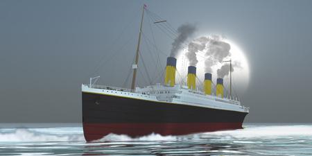 오션 라이너 (Ocean-Liner) - 대형 해양 라이너 선박이 승객을 재난이 가득한 저녁까지 운송합니다. 스톡 콘텐츠