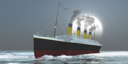 luxury liner: Ocean-Liner - An large ocean liner ship carries its passengers to a disaster filled evening