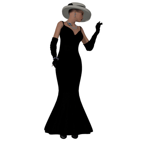 period costume: Retro Fashion Dress - A woman dressed in a black fashion dress and hat from the 1960s