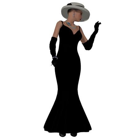 vestidos de epoca: Vestido de la manera Retro - Una mujer vestida con un vestido negro de la moda y el sombrero de la década de 1960 Foto de archivo