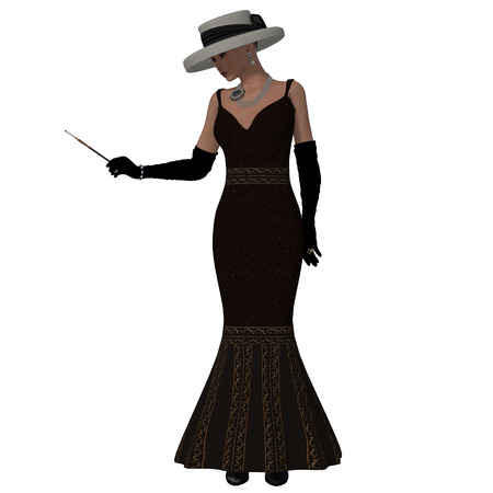 Retro Style Dress - A woman dressed in a brown fashion dress and hat from the 1960s  photo