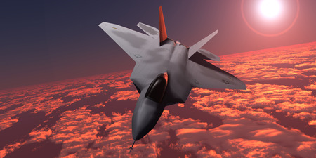 Sunset Fire F22 Fighter Jet - An F-22 fighter jet flies at an altitude above the cloud layer on its mission