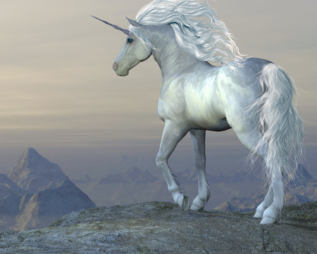 Unicorn Bluff - A white unicorn stallion looks over his vast territory from a mountain cliff  photo