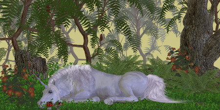 Unicorn Knoll - A beautiful white unicorn sleeps surrounded by flowers in a magical forest  photo