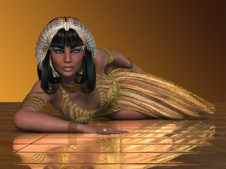 Egyptian Priestess - An Egyptian lady with traditional clothing from the Old Kingdom of Egypt  photo