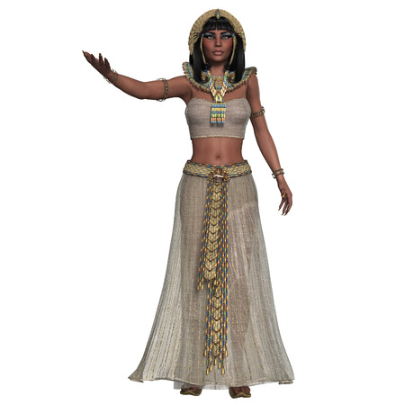 Egyptian Woman Attire - An Egyptian lady with traditional clothing from the Old Kingdom of Egypt  photo