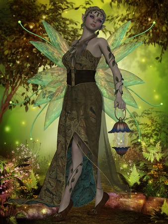 gaia: Fairy Gaia - A fairy with iridescent wings carries a lantern through the magical forest  Stock Photo