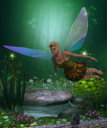 fairyland: Fairy in Flight - A winged fairy flies over a magical forest pond on iridescent wings