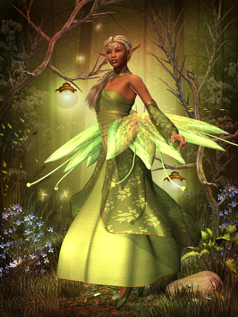 wee: Fairy Lights - A fairy in a beautiful dress hovers over the magical forest on gossamer wings  Stock Photo