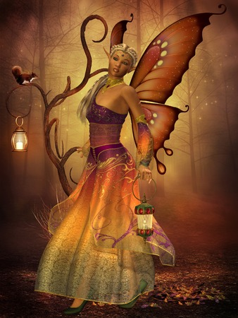 folk tale: Fairy Lilith - A fairy named Lilith carries a lantern making her way through the magical forest  Stock Photo
