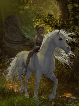 folk tales: Fairy rides Unicorn - A fairy rides a wild white unicorn through the magical forest
