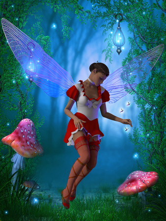 mirage: Fairy with Glow Flies - A flying fairy tries to capture a glow fly in the magical forest