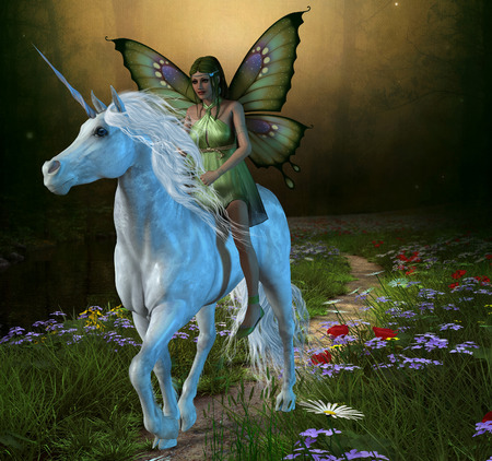 legends folklore: Forest Fairy and Unicorn - A fairy rides a white unicorn down a path in the magical forest