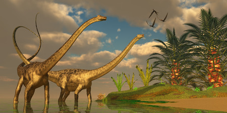 behemoth: Diplodocus Dinosaur Romance - Three Dorygnathus dinosaurs fly over Diplodocus dinosaurs in a mating ritual  Stock Photo