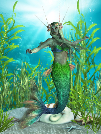 woman underwater: Mermaid Realms  Stock Photo