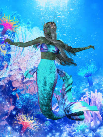 fantasy fairy: Sea Mermaid  Stock Photo