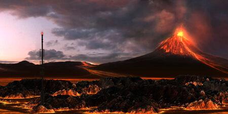 erupting volcano: Volcanic Landscape