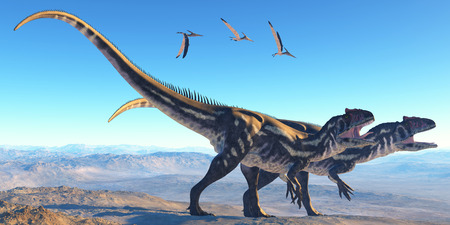 biped: Allosaurus on Mountain - Two Allosaurus dinosaurs look for prey on a high mountain as Pterosaurs watch them
