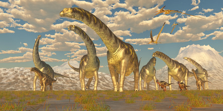 Argentinosaurus Herd Migration - Hypsilophodon and Pteranodon dinosaurs accompany a herd of Argentinosaurus on their yearly migration to warmer temperatures