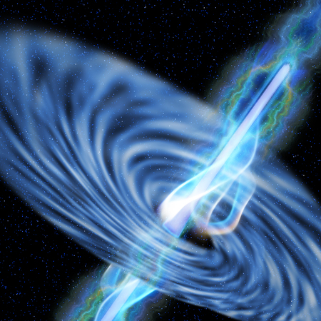 Black Hole Radiation - A stellar black hole emits streams of plasma from its event horizon Stok Fotoğraf - 29082035