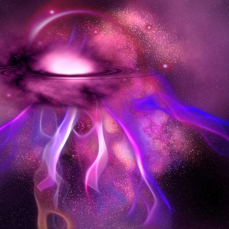 Blushing Nebula - A nebula is composed of stellar dust, gas, plasma rays, stars and surrounding planets  photo