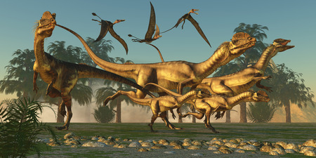 Dilophosaurus Hunt Imagens - 29082067
