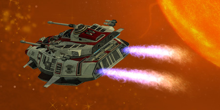 The Ironstar battleship flies near a large sun on its space mission  Stock fotó
