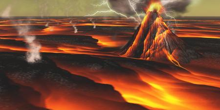 このエイリアンの惑星はその火山周辺の溶岩フィールドと流れとの継続的な噴火 写真素材
