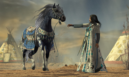 ancient civilization: Indian White Cloud - White Cloud tries to calm her horse in an American Indian camp full of teepees