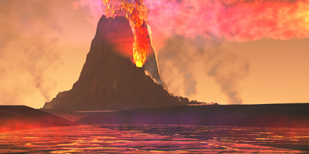 火山地域 - 新しい噴火での生活に来ている、古い火山から溶岩流の川