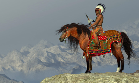 Indian Proud Eagle - An American Indian sits on his Appaloosa horse on a high cliff in a desert area