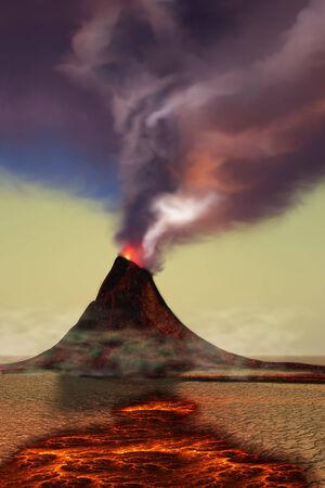 山火山 - 新たに形成された火山をそれのまわりの熱い溶岩として熱い蒸気を吸う 写真素材
