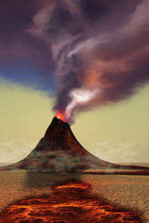 Mountain Volcano - A newly formed volcano smokes with hot steam as hot lava flows around it