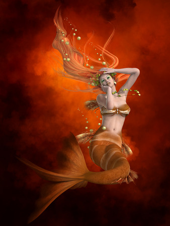 creature of fantasy: Mermaid in Red - Mermaids were known as sea sirens luring men from their boats and ships. Stock Photo