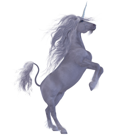 horses: Unicorn over White - The Unicorn is a mythological creature with the body of a horse with a forehead horn, a lion tail, a beard and cloven hoofs.
