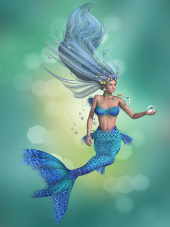 fish tail: Mermaid in Blue - A mermaid is a fantasy sea creature with the upper body of a woman and the tail of a fish for swimming underwater. Stock Photo