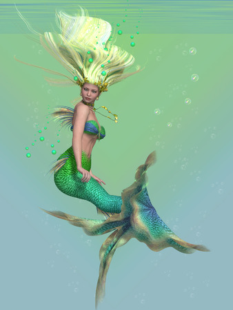 sea nymph: Mermaid in Green - A mermaid is a fantasy sea creature with the upper body of a woman and the tail of a fish for swimming underwater. Stock Photo