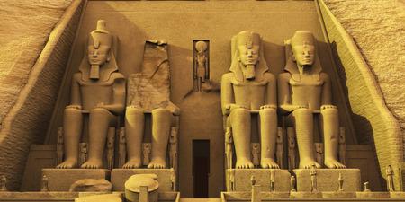 アブ ・ シンベル神殿 - アブ ・ シンベル寺院の寺院は巨大な奇岩が 2 つの彫像がファラオ ラムセスおよび女王ネフ ェルを称えるために石に刻まれ 写真素材