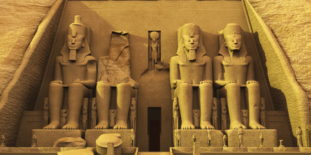 ancient egyptian civilization: Temple of Abu Simbel - Temple of Abu Simbel are two massive rock formations where statues have been carved into the stone to honor Pharaoh Ramesses and Queen Nefertari. Stock Photo
