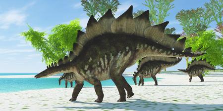 stegosaurus: Stegosaurus Lake - Una manada de dinosaurios Stegosaurus cabeza hacia abajo a un lago para tomar una copa en la era jurásica.