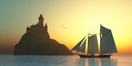 schooner: Castle on the Sea - A schooner sails by a fortress castle on an island offshore from the coastline.