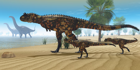 Dinosaur Oasis - A Carnotaurus mother brings her offspring down to a river to drink as two Apatosaurus dinosaurs wade by. photo