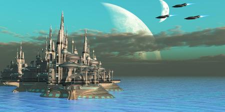Quadron 부문 행성 - 세 우주선은 우주에서 임무 아웃에서 자신의 고향 행성에 온다.