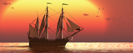 Ship at Sunset - A galleon frigate ship makes it way across ocean waters as the sun sets on another day.