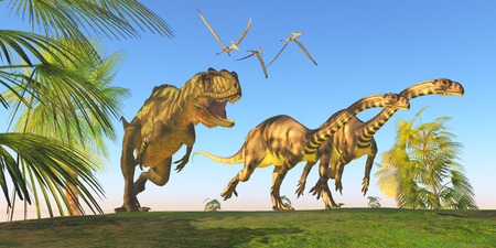 Yangchuanosaurus Dinosaur Hunt - Two Massospondylus dinosaurs run for their lives with a Yangchuanosaurus hunting them. Stock Photo