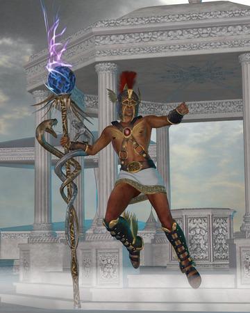 templo griego: Hermes Mensajero de los Dioses - Hermes en la mitología griega es el hijo de Zeus y es un dios olímpico y sirve de mensajero entre los mortales y lo divino. Foto de archivo