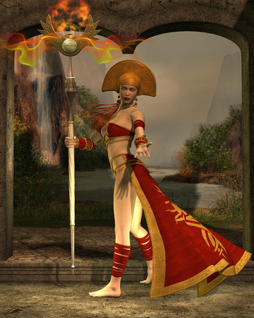 charmer: Sun Priestess - A priestess wields a staff with magic powers of the sun radiating from it. Stock Photo