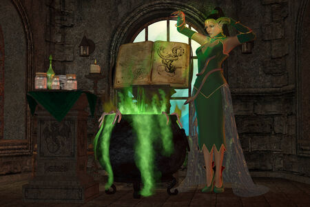 spellbinder: Witch Cauldron - A snake witch puts an evil spell on a cauldron full of green potions and seasonings.